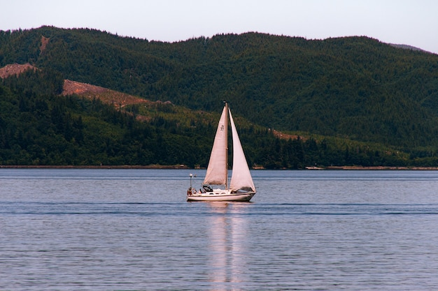 Sailboat sailing in a beautiful river with a forest on a steep hill Free Photo