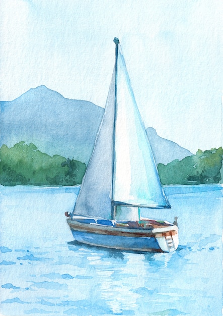 Sailboat with white sails in the lake on the beautiful mountains background. Premium Photo
