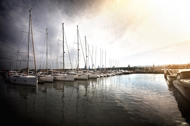 Sailboats in the port. Free Photo