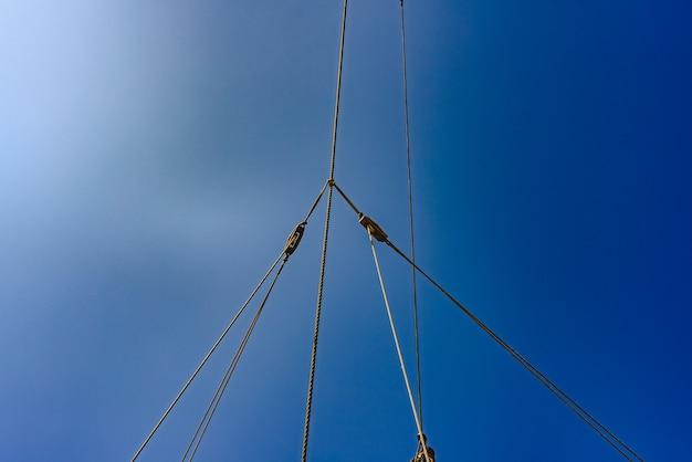 Sails and ropes of the main mast of a caravel ship, santa maría columbus ships Premium Photo