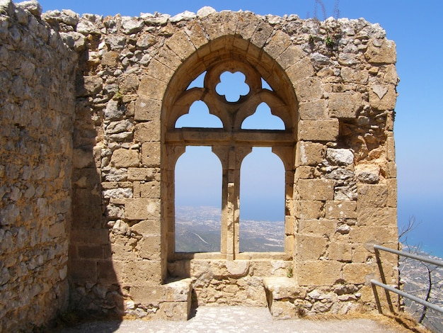 Saint hilarion castle, view of the queen's window queen elanor in the upper ward. kyrenia district, cyprus Premium Photo