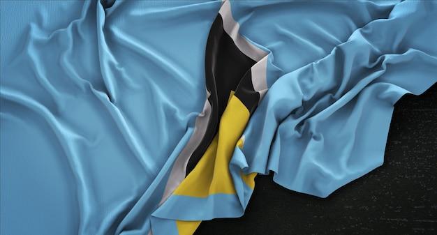 暗い背景にレンダリングされたセントルシアの国旗3dレンダリング 無料写真