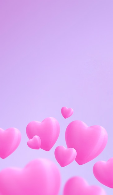Saint valentine day. cute pink hearts in the bottom by picture with gentle pink color background. space for text Premium Photo