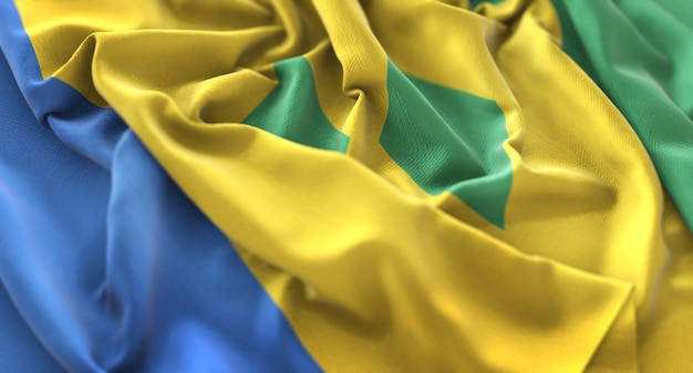 Saint vincent and the grenadines flag ruffled beautifully waving macro close-up shot Free Photo