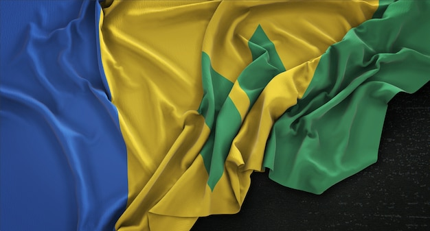 Saint vincent and the grenadines flag wrinkled on dark background 3d render Free Photo