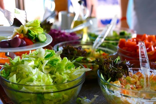 Salad buffet. Premium Photo