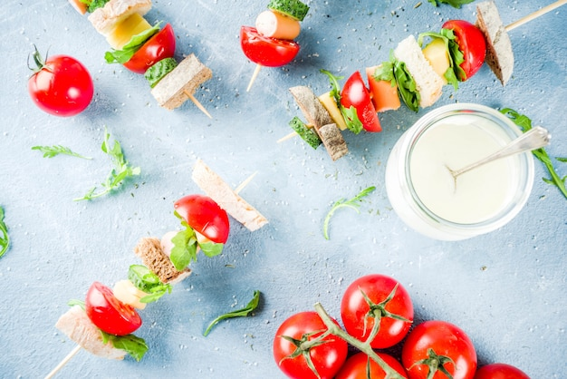 Salad sandwiches skewers Premium Photo