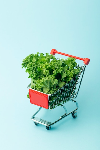 Salad in a supermarket cart. Premium Photo