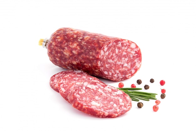 Salami smoked sausage, rosemary branch and pepper, isolated on white cutout Premium Photo