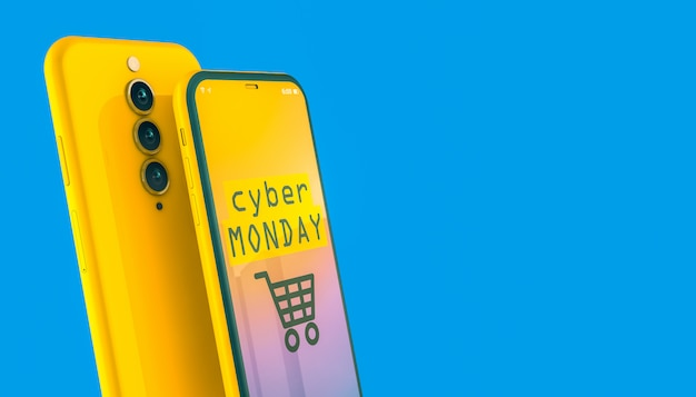 Sales on cyber monday on the screen of a yellow smartphone Premium Photo