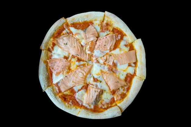 Salmon pizza-italian food style, focus selective Premium Photo