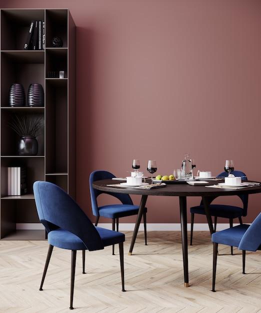 파란색 의자, 포스터 모의 연어 레드 인테리어 식당, 3d 렌더링 프리미엄 사진