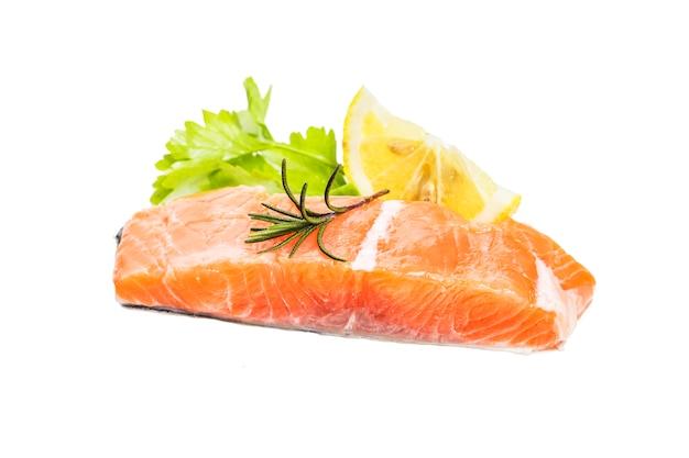 Salmon on white background Free Photo