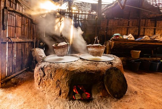 Salt making of bo klure community at nan province, thailand Premium Photo