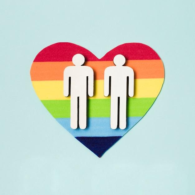 Same sex couple on a heart Free Photo