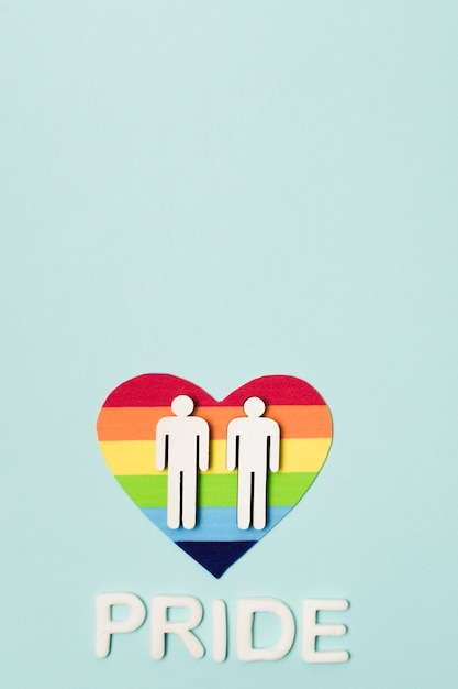 Same sex gay couple on a heart Free Photo