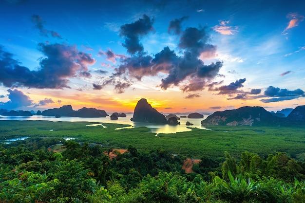 Free Photo | Samet nangshe viewpoint at sunrise in phang nga, thailand.