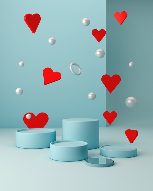 San valentine's scene with geometrical forms with empty podium. geometric shapes Premium Photo