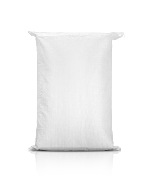 Sand bag or white plastic canvas sack for rice or agriculture product Premium Photo