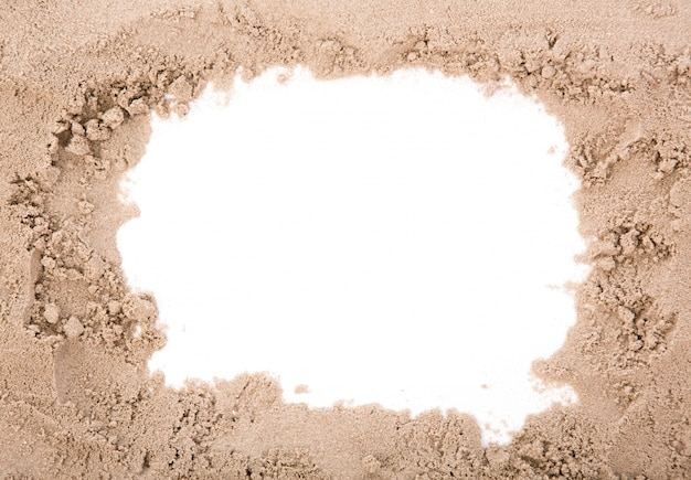 Sand frame with copy space Free Photo