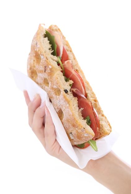 Sandwich in a hand Free Photo
