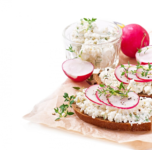 Sandwich with cottage cheese, radish, black pepper and thyme Premium Photo