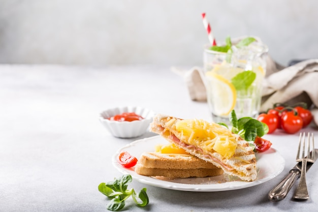 Sandwich with pineapple, Premium Photo