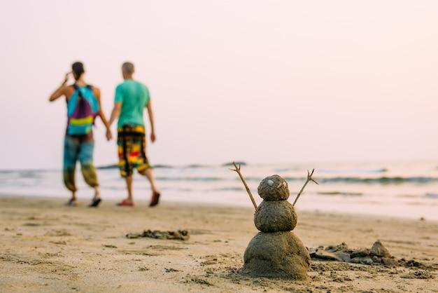 歩いているゲイの男性のカップルに対して海のビーチで砂浜の幸せな男 Premium写真