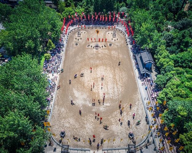 Sanguochengでの古代の戦場のパフォーマンス。無錫中国 無料写真