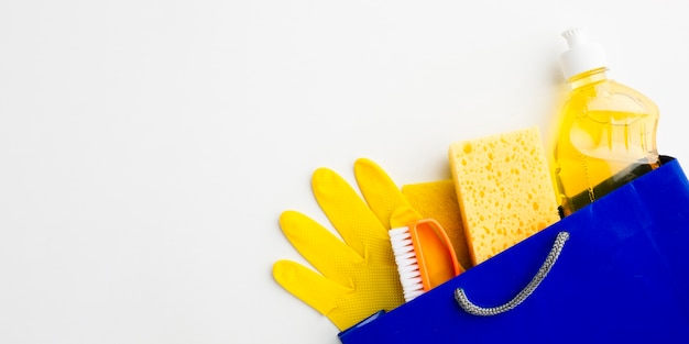 Sanitary tools in bag copy space Free Photo
