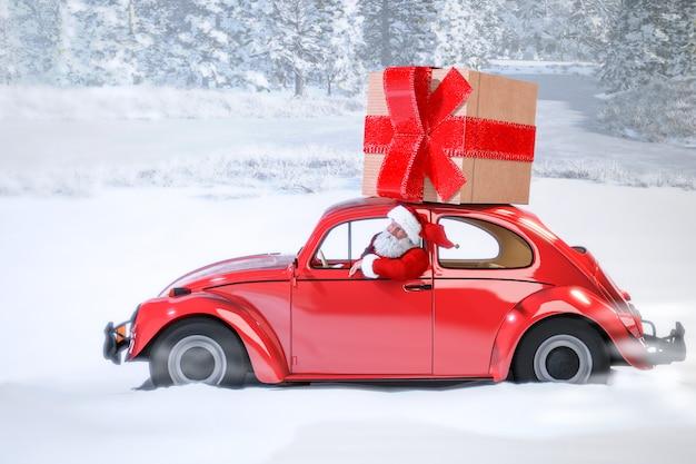 Santa claus in the car bringing presents Premium Photo