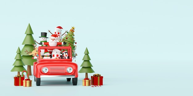 Santa claus and friend in a red car with christmas decoration 3d rendering Premium Photo