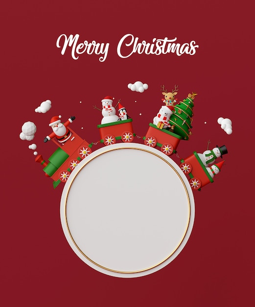 Santa claus and friends on christmas train with blank circular space Premium Photo