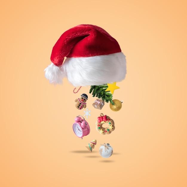 Шапка деда мороза с новогодним декором Premium Фотографии