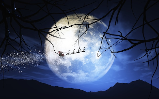Free Photo Santa Claus And His Sleigh Flying In A Moonlit Sky