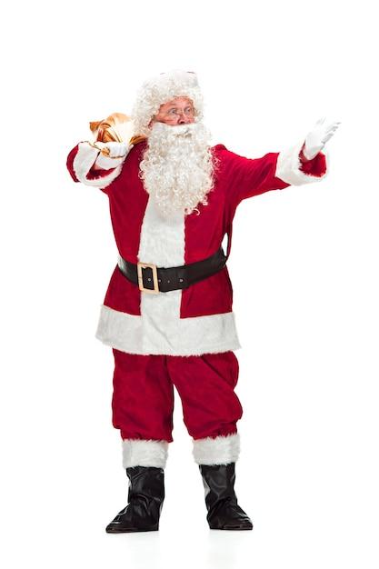 Санта-клаус в красном костюме, изолированные на белом фоне Бесплатные Фотографии