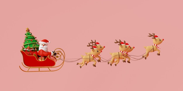 Santa claus on a sleigh full of christmas gifts 3d rendering Premium Photo