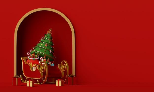 Сани санта-клауса с елкой, полной подарочной коробки 3d-рендеринга Premium Фотографии