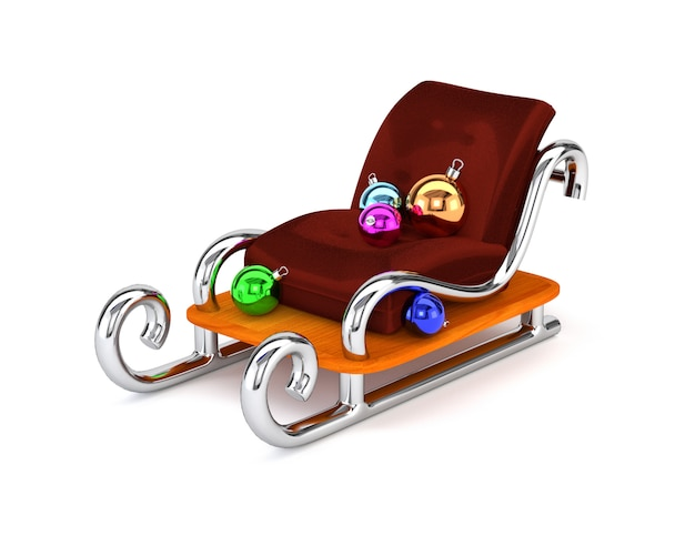 Santa's sleigh with multicolored christmas balls isolated on a white background. the concept festive gift delivery. 3d illustration. Premium Photo