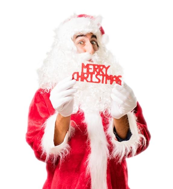 Santa with lyrics that say