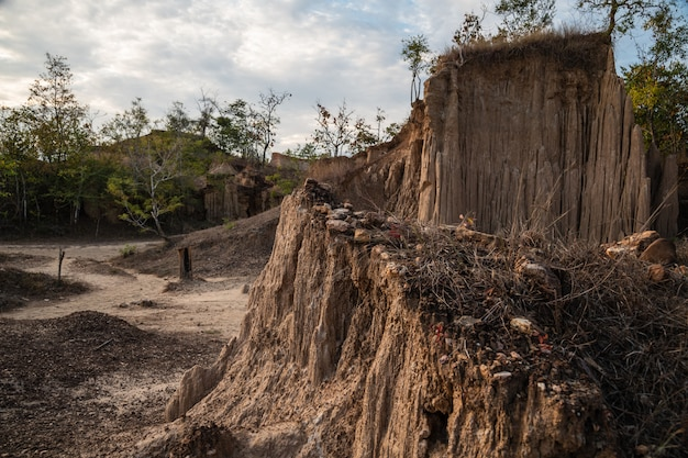The sao din site displays an intriguing of eroded soil pillars in nan, thailand Premium Photo
