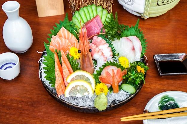 Sashimi raw fish set menu Free Photo