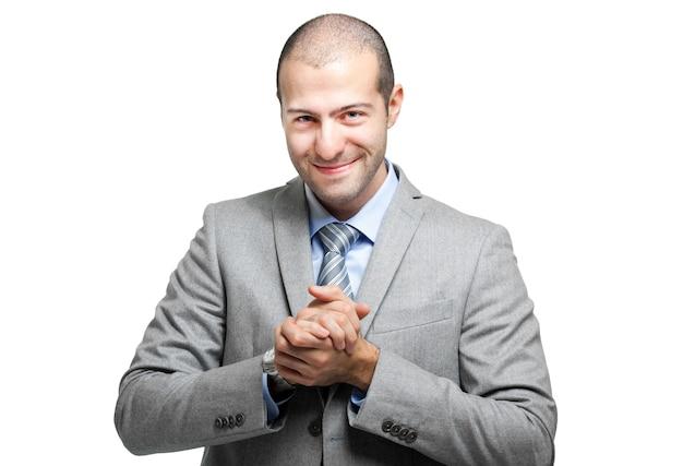 Satisfied businessman on white background Premium Photo