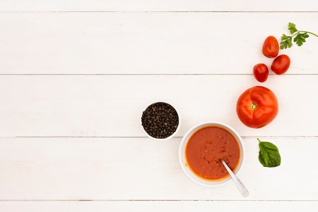 Sauce and it's ingredient on wooden table Premium Photo
