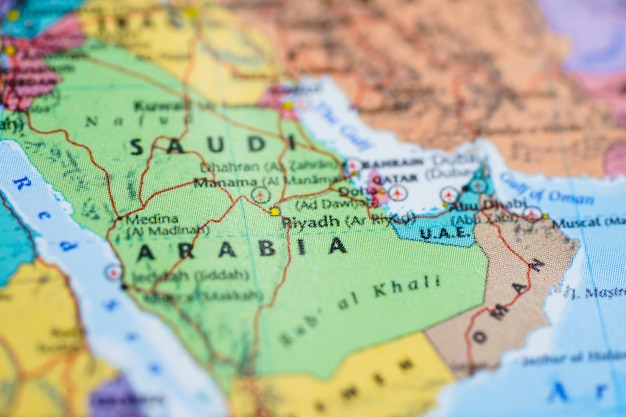 Saudi Arabia Asia In Globe World Map Photo Premium Download