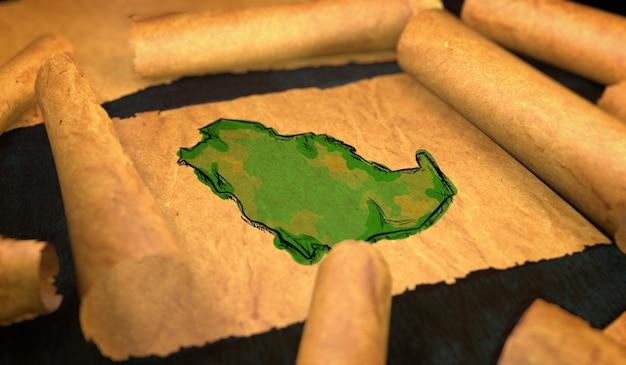 Saudi arabia map painting unfolding old paper scroll 3d Premium Photo