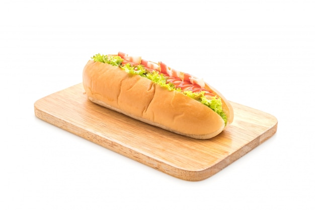 Sausage hotdog with ketchup Premium Photo