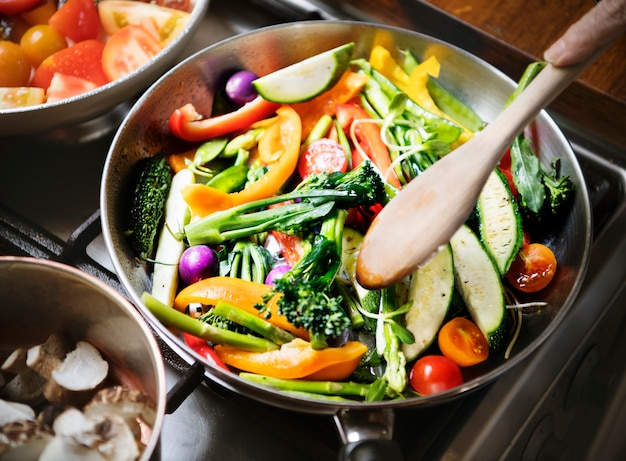 Sauted mixed vegetables food photography recipe idea Free Photo