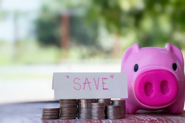 Saving money, business finance and money concept; stack coins on wood table with blurred pig background. Premium Photo