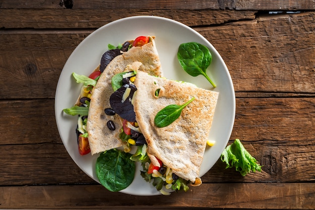 Savoury buckwheat pancake or quesadilla Premium Photo